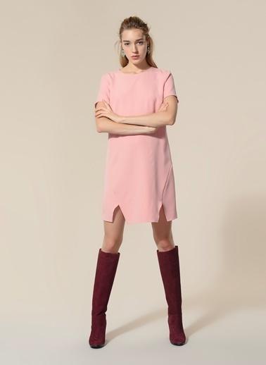Agenda Yırtmaç Detaylı Elbise Pembe
